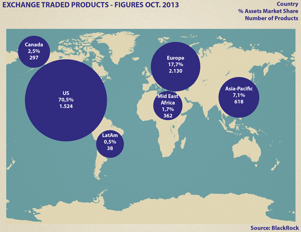 ETF flows: World map with asset share in areas