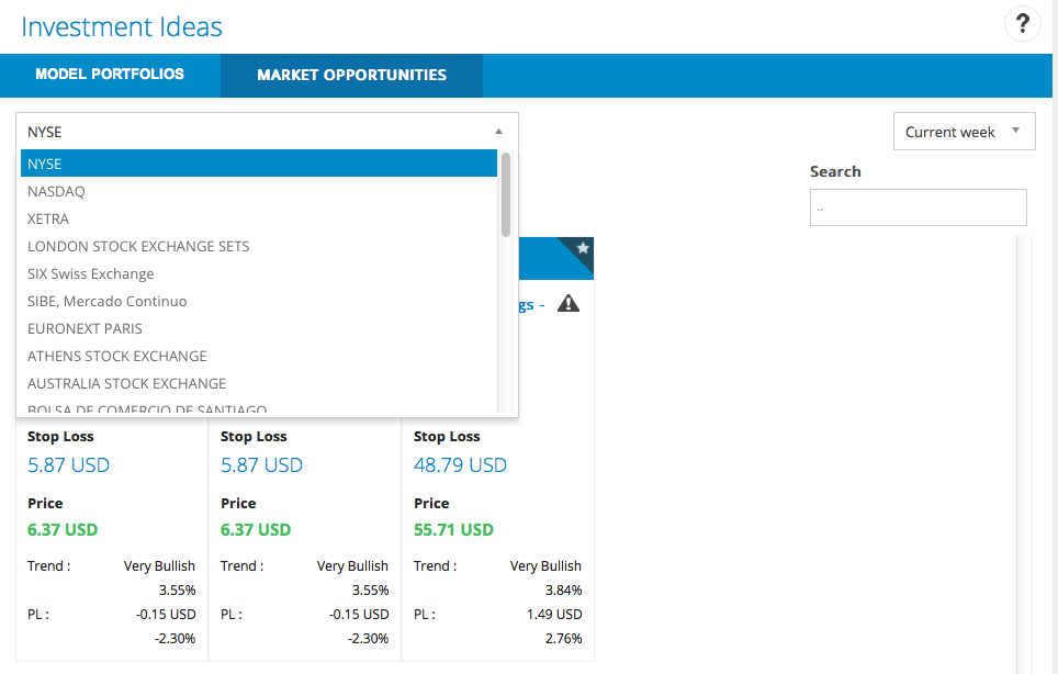 Market opportunities module in T-Advisor