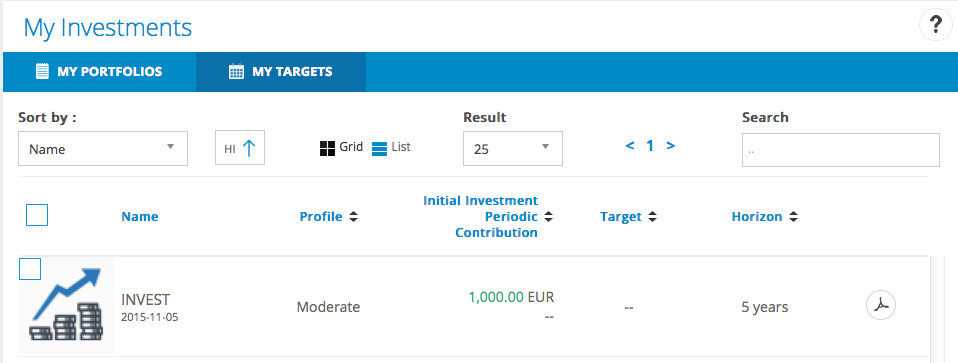 Invesment planner integrated in T-Advisor