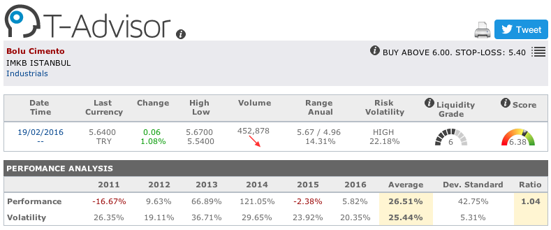 Bolu Cimento main figures in T-Advisor