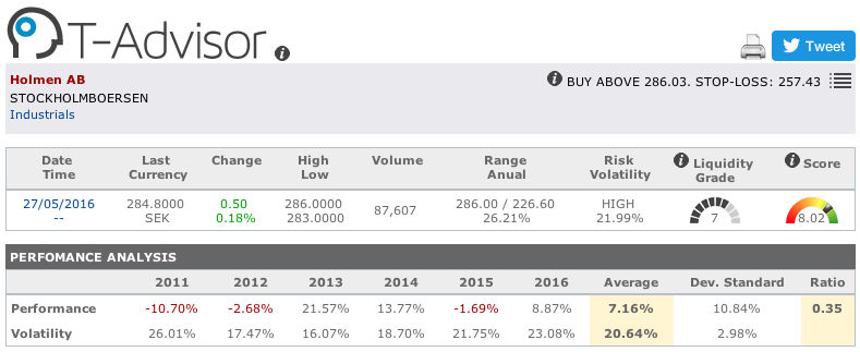 Holmen main figures in T-Advisor