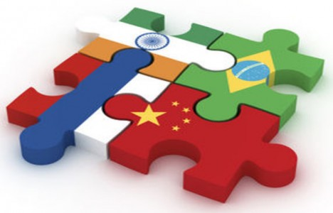 Puzzle with Brazil, Russia, India and China flags