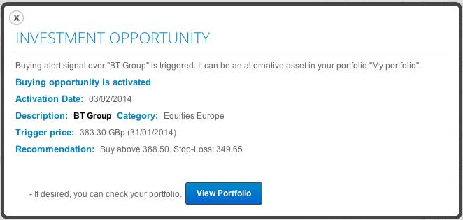 Opportunity investment alert in T-Advisor