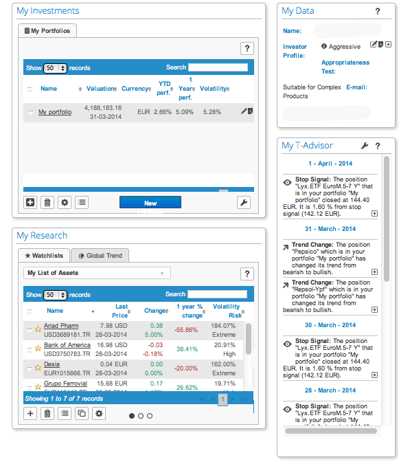 Main screen robo-advisor T-Advisor