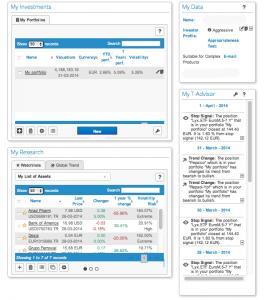 Pantalla principal de asesores virtuales: T-Advisor
