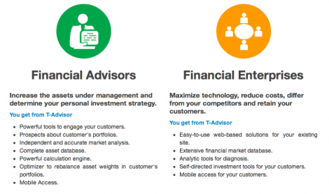 T-Advisor advantages for advisors and financial institutions