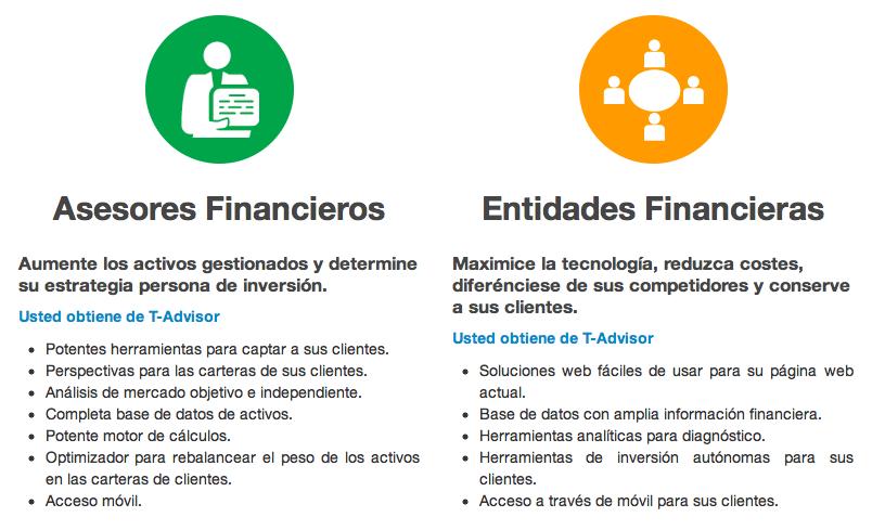 Ventajas de T-Advisor para asesores y entidades financieras