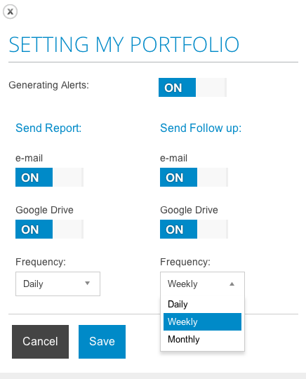 Portfolio settings in T-Advisor