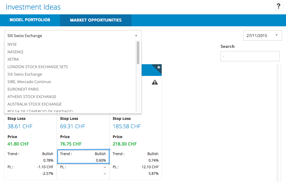 Market opportunities screen in T-Advisor