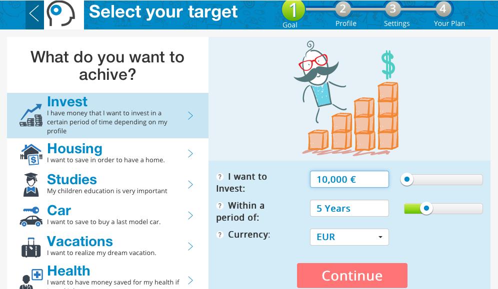T-Advisor investment planner main screen