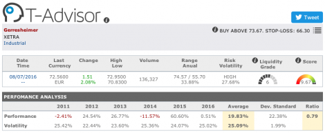 Gerresheimer main figures in T-Advisor